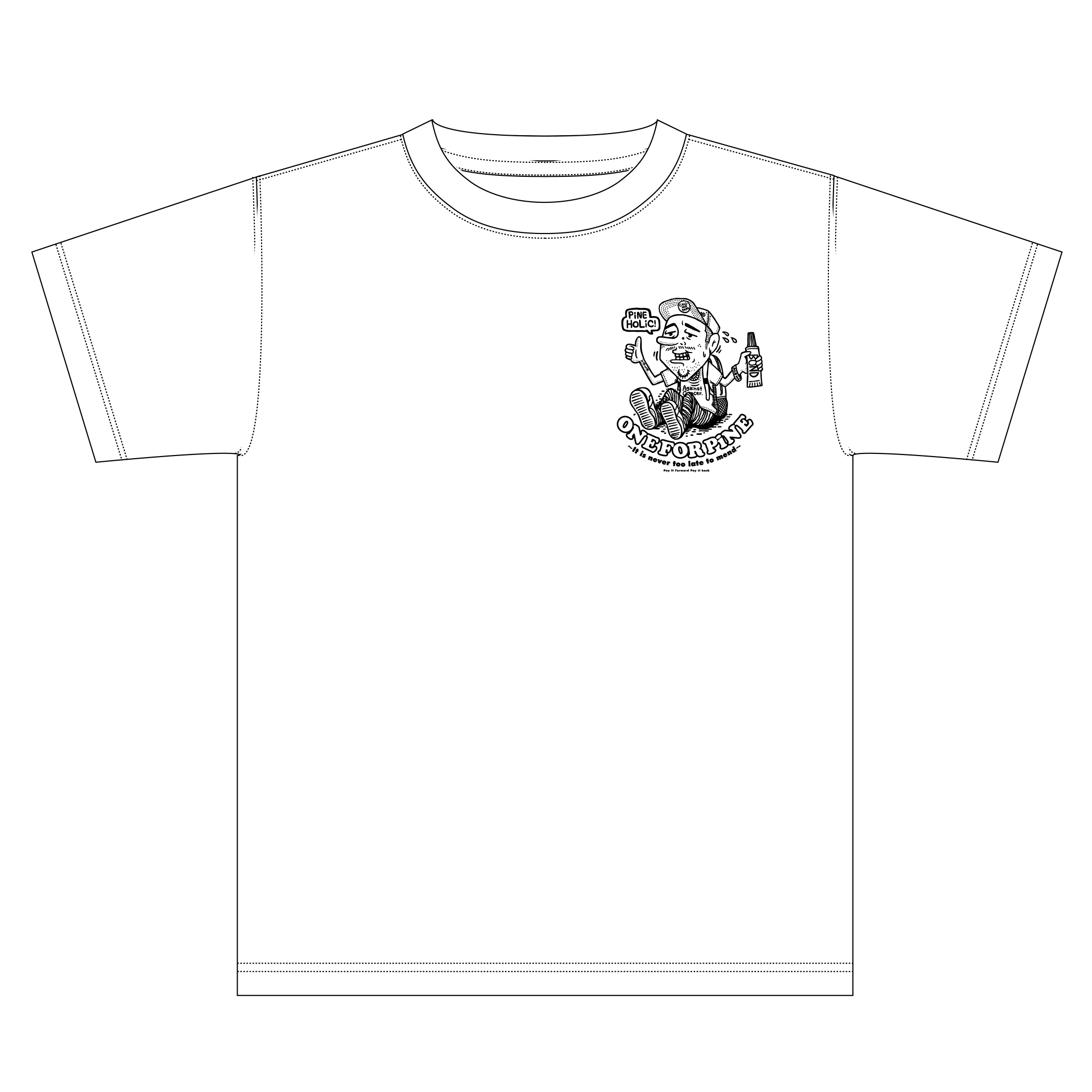 ONE FOR PiNE ロゴ・チャリティーTシャツ